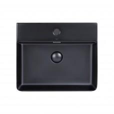 Раковина Qtap Nando LT 500х420х120 Matt black с донным клапаном QT12112173SMBMB